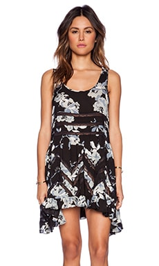 Free People Printed Trapeze Slip Dress in Twilight Combo