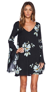Free People Wanderer Mini Dress in Charcoal Combo
