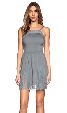 Free People Lace Insert Swing Slip Dress in Vapor Blue