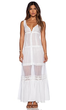 Free People Victoria Button Front Maxi in White
