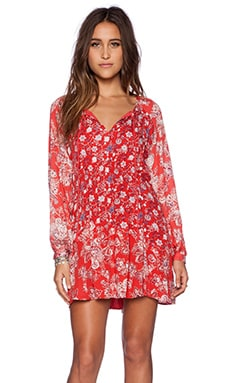Free People Lucky Loosey Dress in Blood Orange Combo