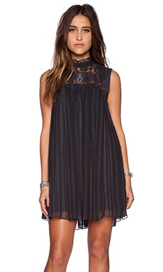Free People Penny Georgette Babylon Dress in Deep Navy Combo