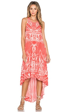 Free People La Mar Printed Dress in Hot Coral Combo