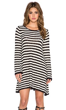 Free People Striped Swing Tunic in Ivory & Black