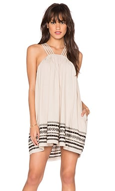 Free People Structured Cotton Batiste Kashmir Tent Dress in Biscotti
