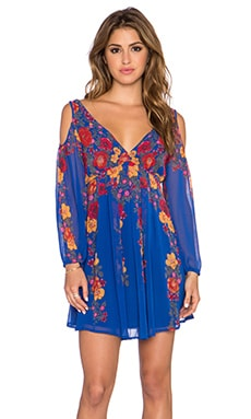 Free People Penny Lover Mini Dress in Cobalt Combo