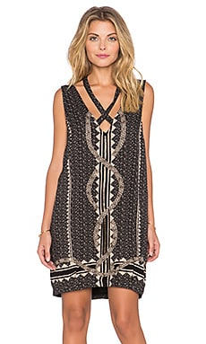Free People Diamonds & Snakes Mini Dress in Black Combo