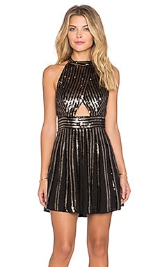 Free People Sequin Stripe Mini Dress in Black