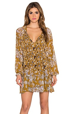 Free People Lucky Loosey Dress en Imprimé Jaune Paille