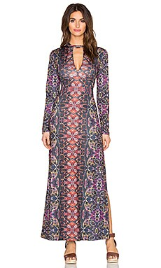 Free People Cabaret Long Sleeve Maxi Dress in Sunrise Combo