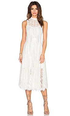 Lace Trapeze Midi Dress in Ivory