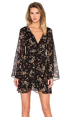 Free People Lilou Printed Dress in Retro Black Combo