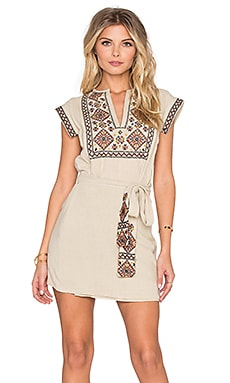 Free People Running Wild Embroidered Dress in Khaki