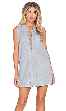 Free People Off Poplin Dress in Chambray Combo