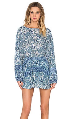 Sun Printed Dress in Washed Blue
