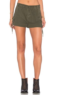 Free People Melvin Roll Cargo Shorts in Green