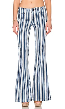 Free People Jolene Stripe Pant in White Indigo