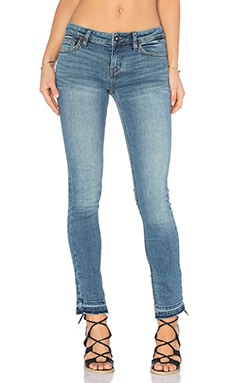 Low Rise Side Slit Jeans in Dark Denim