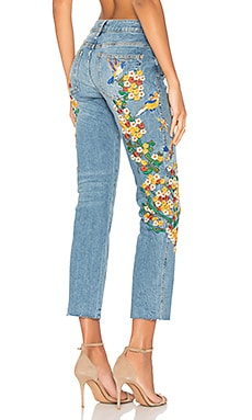 Embroidered Girlfriend Jean in Light Denim