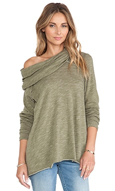 Free People Cocoon Cowl Pullover in Army