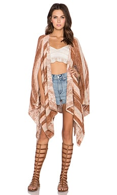 Free People The Big Trail Poncho Cardi in Sunset Combo