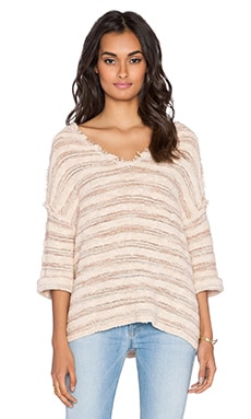 Free People Spells Trouble Stripe Pullover in Ballerina & Natural