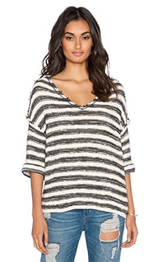 Free People Spells Trouble Stripe Pullover in Ivory & Black