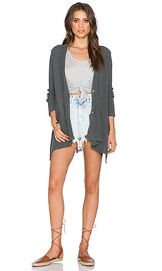 Free People Shark Hem Cardigan in Charcoal