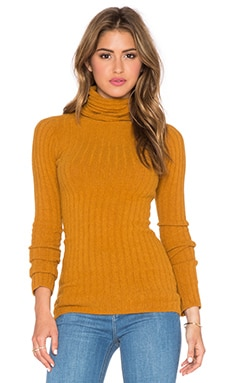 Free People Skinny Skinny Mock Neck Sweater in Dark Mustard