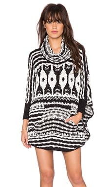 Free People Rosie Lee Poncho in Black & White Combo