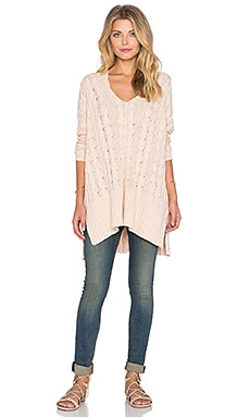 Free People Easy Cable V Neck Sweater in Champage