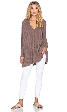 Free People Easy Cable V Neck Sweater in Mushroom