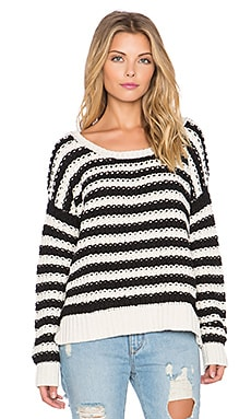 Free People At The Beach Pullover in Ivory Black Combo