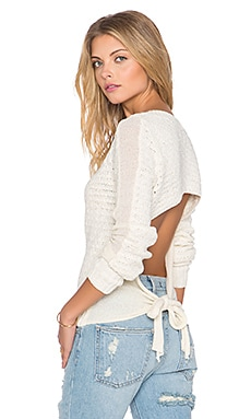 Free People Bow Back Pullover in Ivory