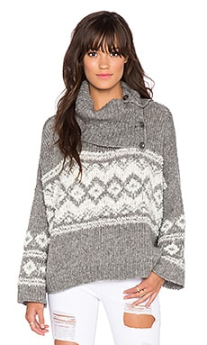 Free People Fairisle Split Neck Sweater in Charcoal & Ivory