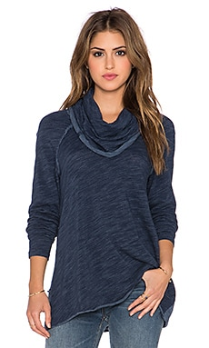 Free People Cocoon Cowl Neck Sweater in Denim Combo