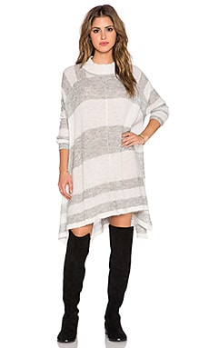 Free People Lafayette Stripe Mock Poncho* in Cream & Grey Combo
