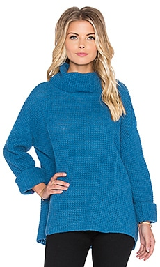 Free People Sidewinder Sweater in Caribbean Blue