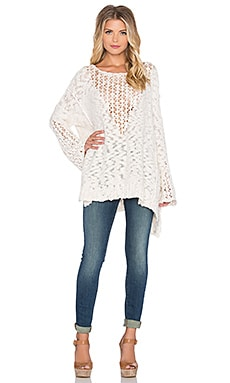 Free People Pretty Pointelle Vee Sweater in Ivory