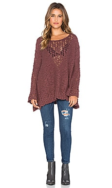 Free People Pretty Pointelle Vee Sweater in Rose Glow
