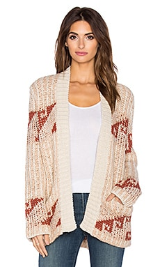Free People Time And Again Pattern Cardigan in Natural Combo