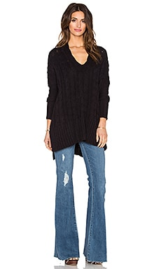 Free People Easy Cable V Neck Sweater in Black
