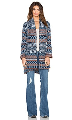 Free People Iona Wrap Cardigan in Blue Combo