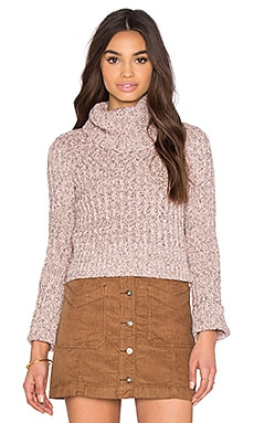 Free People Twisted Cable Tneck in Ballet Combo
