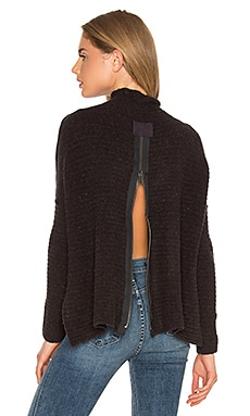 Free People Arctic Fox Zip Back Sweater in Black