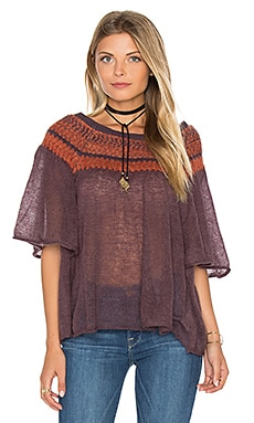 Free People Lock Lomand Flutter Sleeve Top in Purple Combo