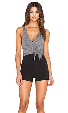 Free People In Balance Bodysuit in Grey Combo
