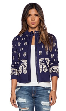 Free People Riviera Pattern Jacket in Royal Blue Combo