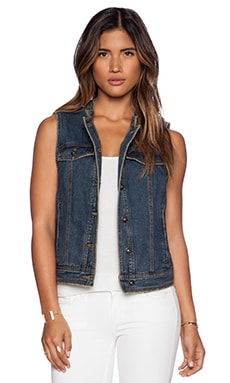 Free People Ripped Lace Up Vest in Indigo