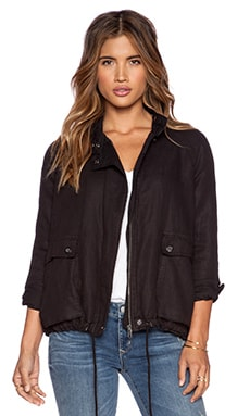 Free People Swing Sporty Jacket in Washed Black